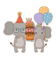 animals cartoons with happy birthday cake design vector image vector image