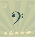 bass clef icon vector image vector image