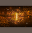 bitcoin digital currency with circuit abstract vector image