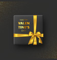 black gift box for valentines day vector image vector image