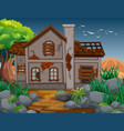 brick house in the field vector image