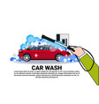 car wash service banner with hand cleaning vehicle vector image