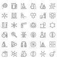 chemistry linear icons set microscope atom vector image vector image