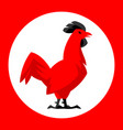 chicken emblem stylized red cock vector image vector image