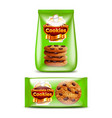 chocolate chip cookies packaging 3d realistic vector image vector image