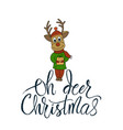 christmas card with hand lettering vector image