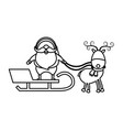 christmas santa claus reindeer sledge outline vector image vector image