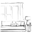 contemporary modern interior hand drawing vector image