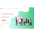 corporate party poster workers in office vector image vector image