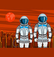 cosmonaut on mars planet surface in pop art style vector image vector image