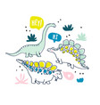cute dinosaurs and tropic plants vector image vector image
