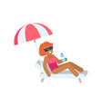 cute woman on vacation color vector image