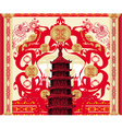 decorative card with abstraction Asian building vector image