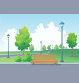 empty bench in the park vector image vector image