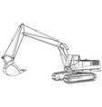 excavator abstract drawing tracing vector image