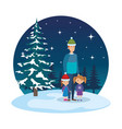 father and kids with christmas clothes in vector image vector image