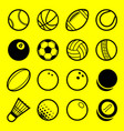 flat line art play sport balls logo icon isolated vector image