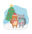 happy merry christmas card with bear teddy and vector image vector image
