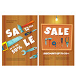 hardware shop posters with construction tools sale vector image