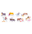 horse flat icon set vector image