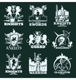 Knights Monochrome Emblems vector image vector image