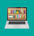 laptop and book shelf vector image