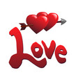 love and two hearts vector image vector image
