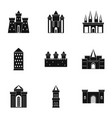 medieval castles icon set simple style vector image vector image