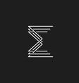 Monogram letter E of interwoven fine lines mockup vector image vector image
