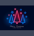 neon christmas tree and stars background vector image vector image
