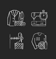 outfit repair services chalk white icons set vector image vector image