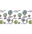 pattern with set of cute trees vector image vector image