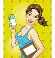 pop art of fitness girl with vector image vector image