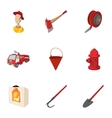Protection from fire icons set cartoon style vector image vector image