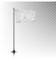 realistic white flag on steel pole on background vector image vector image