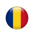 romania flag on button vector image vector image