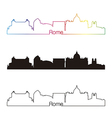 Rome skyline linear style with rainbow vector image