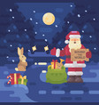 santa claus lost his sleigh and reindeer and is vector image vector image