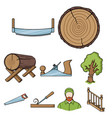 sawmil and timber set icons in cartoon style big vector image vector image