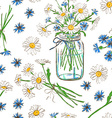 Seamless pattern with chamomile and cornflowers vector image vector image