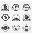 Set of coffee shop logos or vintage labels vector image vector image