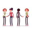 Set of female characters in a casual wear vector image