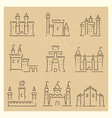 set of medieval castles line icos vector image vector image