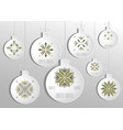 silhouette of a christmas white ball set vector image vector image
