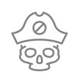 skull with pirate captain hat line icon tattoo vector image