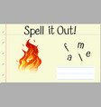 spell english word flame vector image vector image