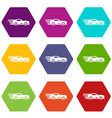 sport car icons set 9 vector image vector image
