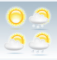 sun and raining clouds weather web icon vector image vector image