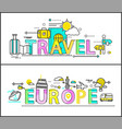 travel to europe isolated on white colorful poster vector image