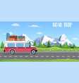 web banner on the theme of road trip vector image